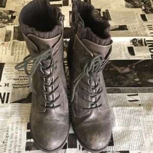 Shoes - Lace-Up Booties w Block Heel UK39